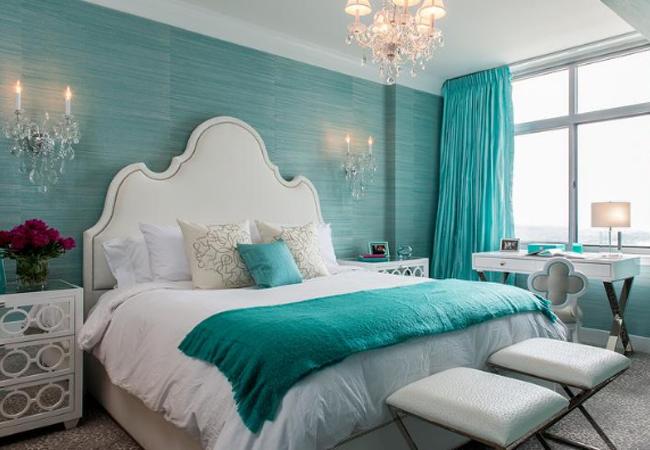 phòng ngủ xanh ngọc bích